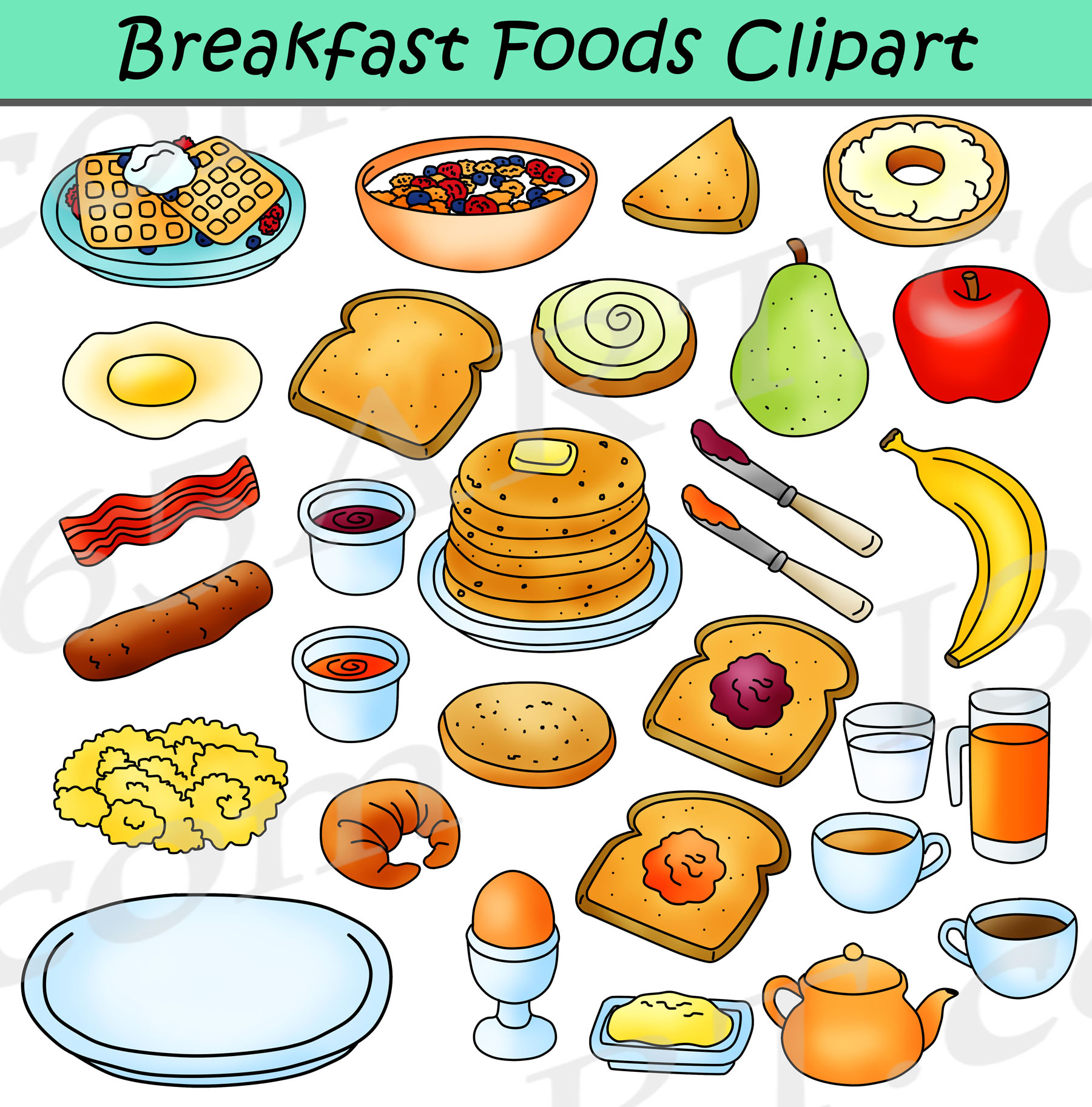 Food graphics clipart banner black and white library Breakfast Foods Clipart Bundle - Breakfast Clipart Graphics banner black and white library
