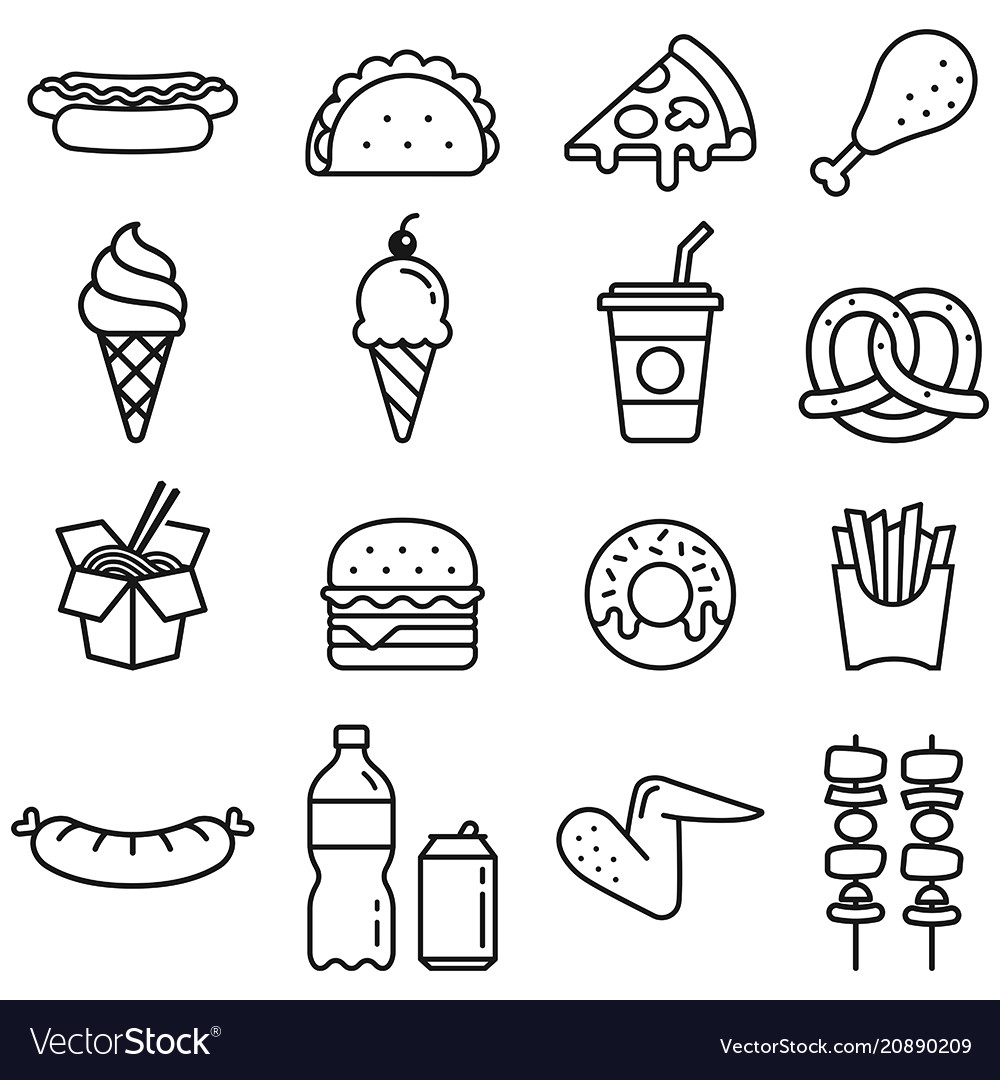 Food icons clipart clip royalty free Fast food icons clip royalty free
