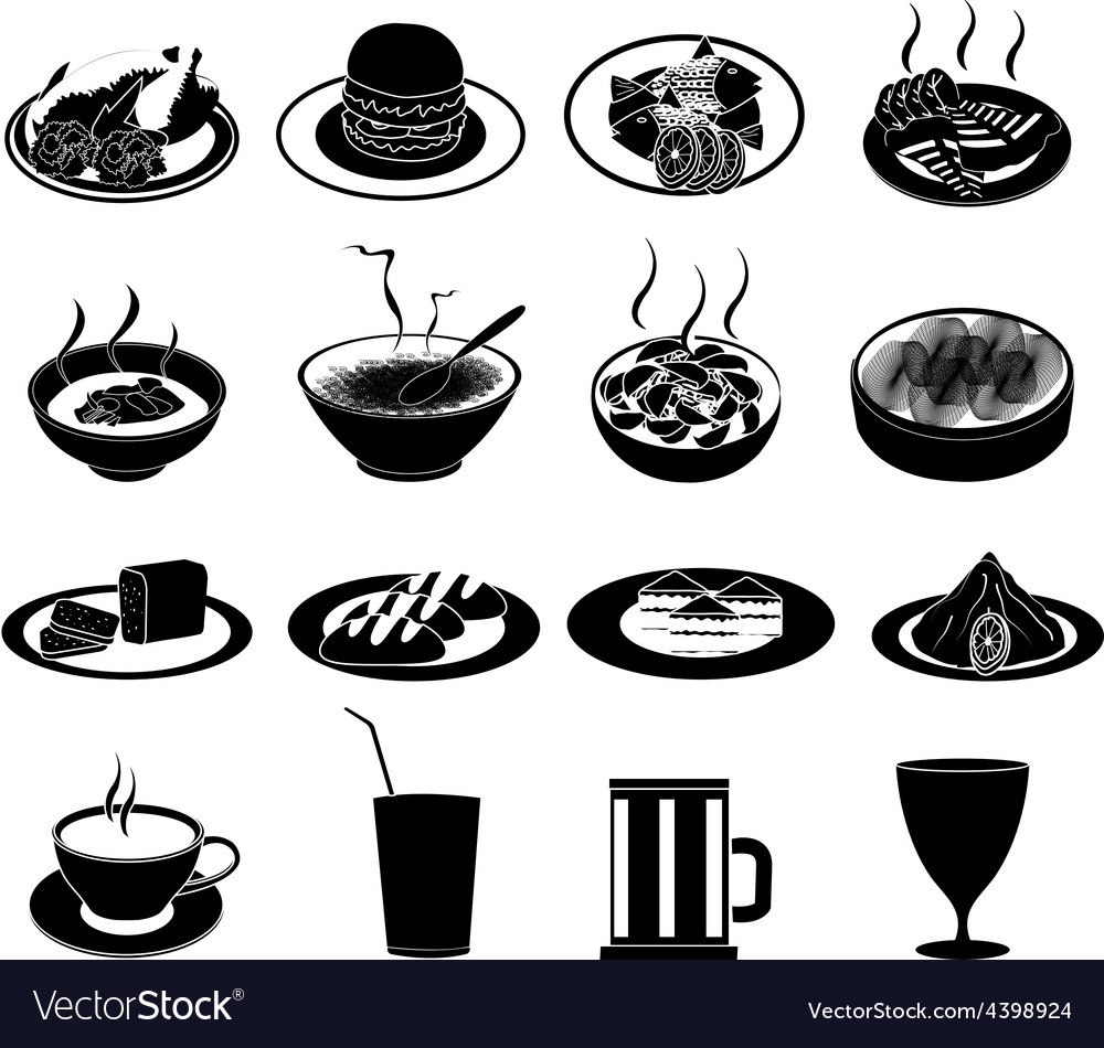Food icons clipart. Restaurant foods set