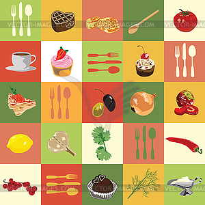 Food ingredient clipart picture Background of colored squares with food ingredients - vector clipart picture