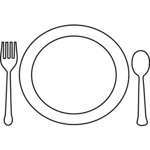 Food o the plate black and white clipart svg freeuse library Plate Of Food Clipart Black And White – Letters with regard to Plate ... svg freeuse library