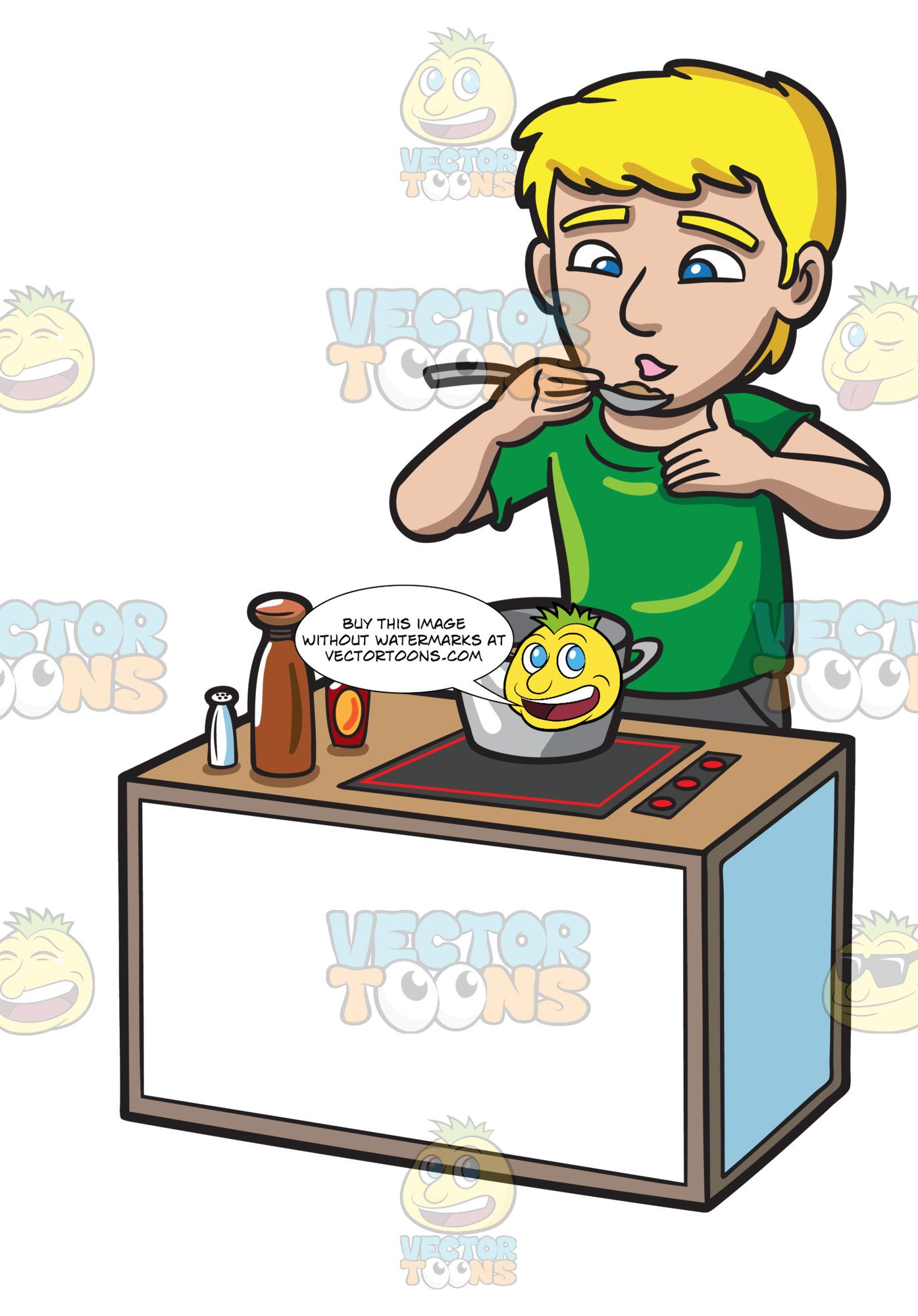 Food tasting clipart clip library A Man Tasting The Food That He Cooked clip library