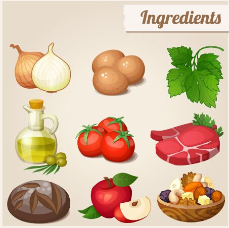 Food vector clipart free download clip art library Food ingredients icons vector graphics - Food Icons free download ... clip art library