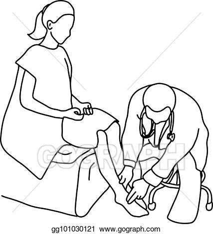 Foot doctor clipart graphic free stock Vector Stock - Doctor examining foot muscle of female patient with ... graphic free stock
