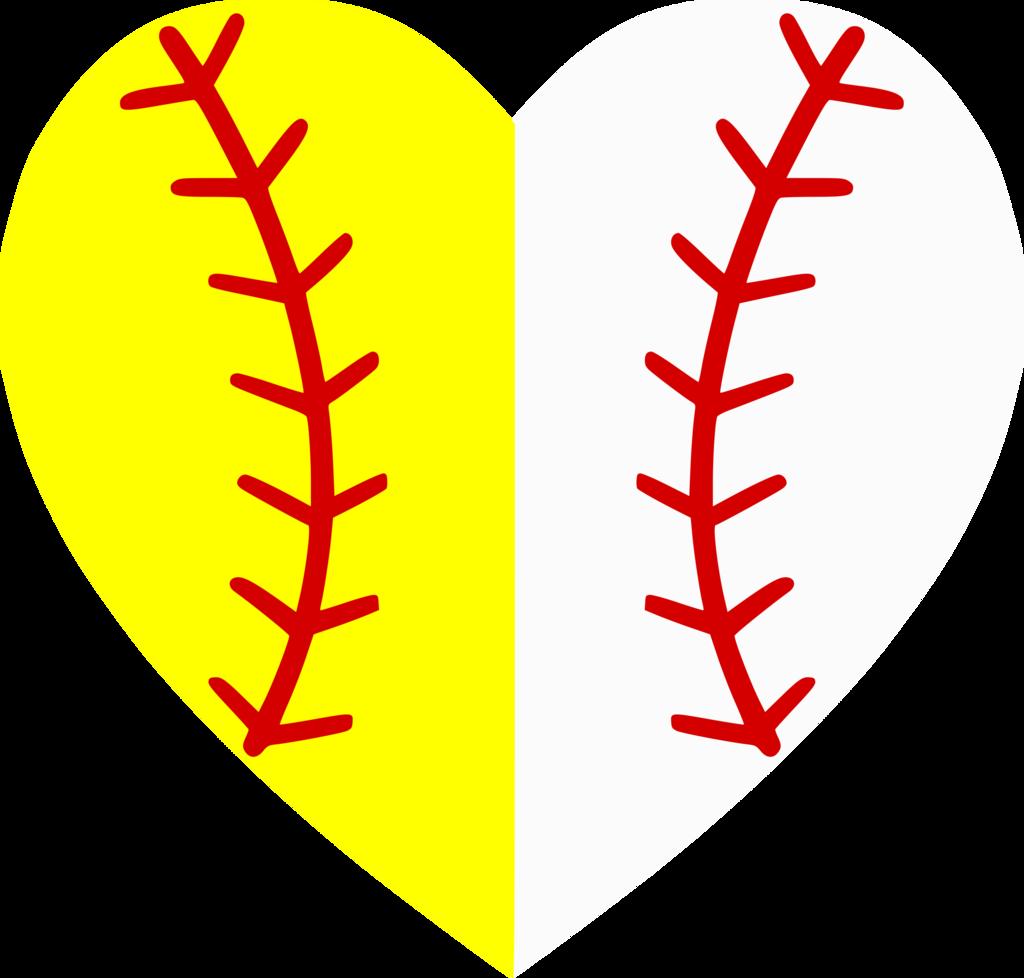 Football baseball clipart heart png transparent stock Softball-Baseball Heart Divided – Albb Blanks png transparent stock