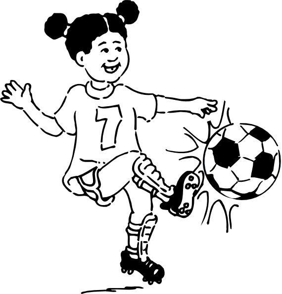 Girl football player clipart svg freeuse clip art soccer playing girl outline | girl playing football outline ... svg freeuse