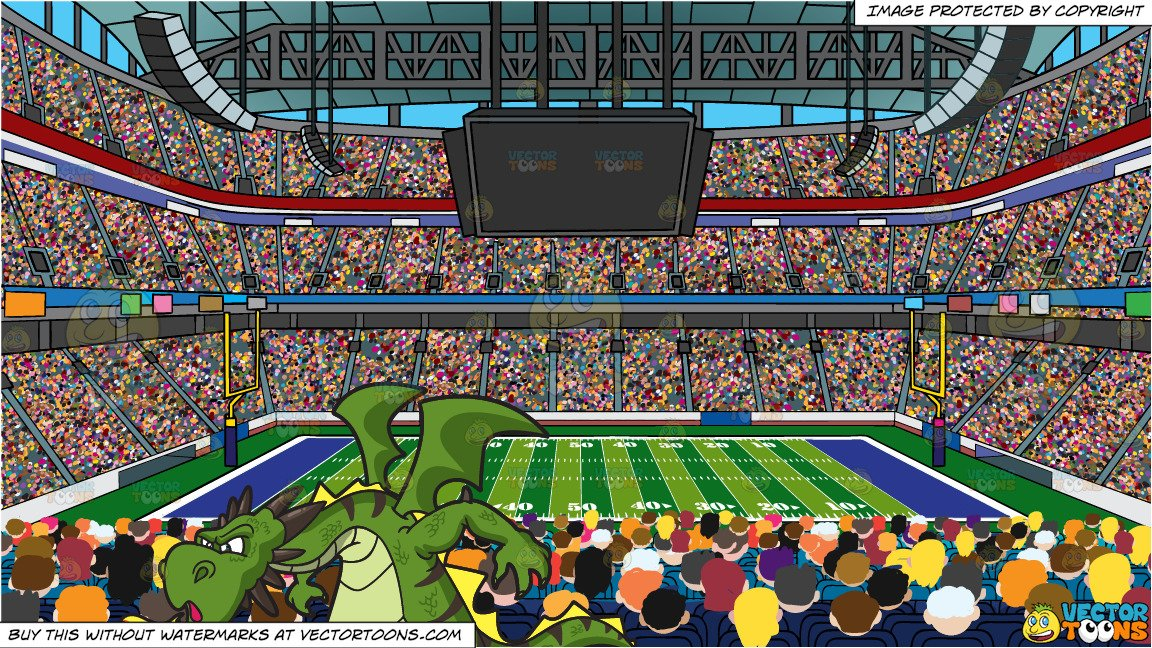 Football clipart audience graphic A Fierce Dragon Spitting Out Fire and A Football Stadium Background graphic