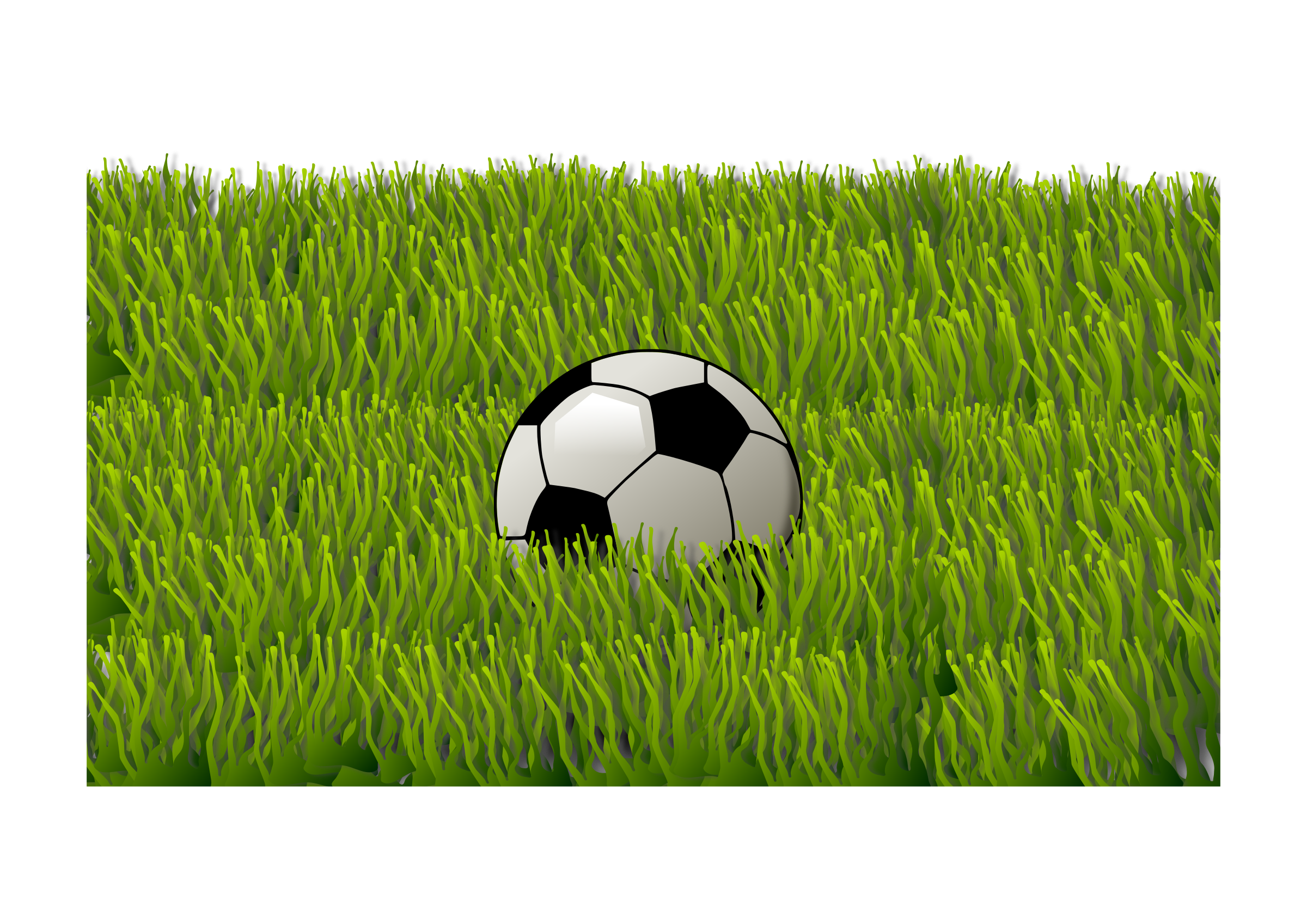 Soccer ball on big. Football field grass clipart
