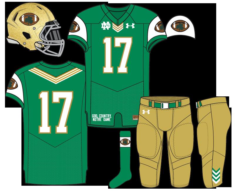 Football pants clipart vector free Notre Dame Football Uniform Concept: Shamrock Football vector free