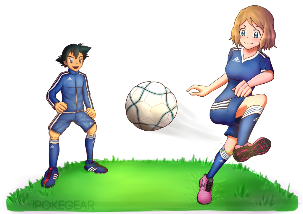 Football player catching ball clipart png freeuse library COMM] Serena and Ash Playing Soccer by ipokegear on DeviantArt png freeuse library