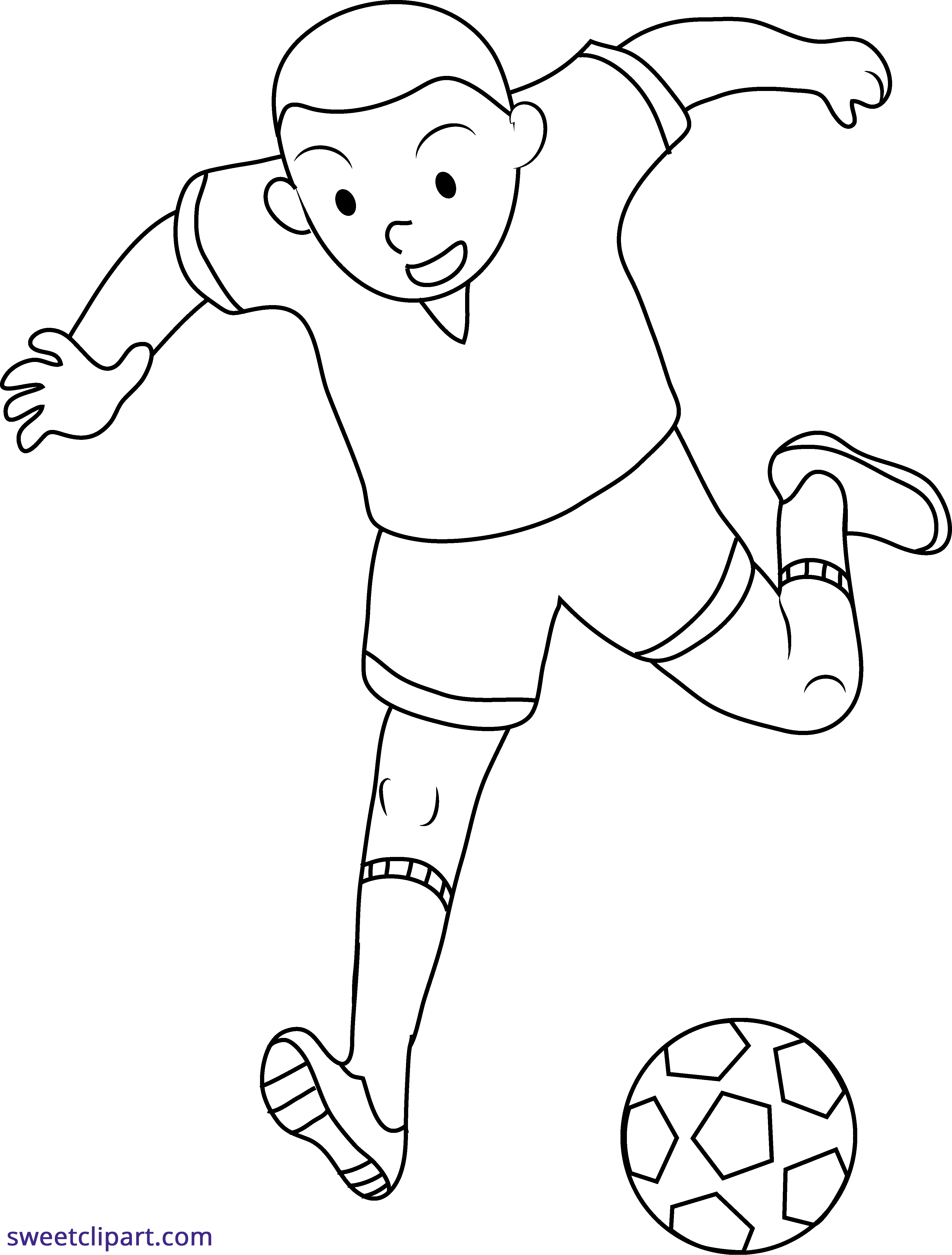 Football player clipart black and white kids graphic royalty free download Kid Playing Soccer Line Art Clipart - Sweet Clip Art graphic royalty free download