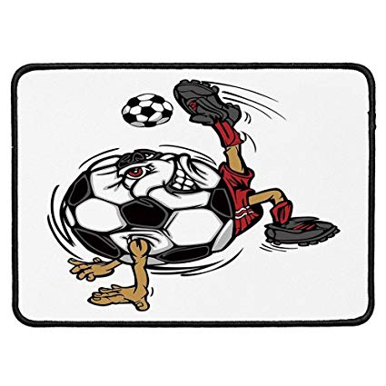 Football player on laptop clipart image black and white Amazon.com: Sports Decor Non Slip Mouse Pad,Soccer Football Player ... image black and white