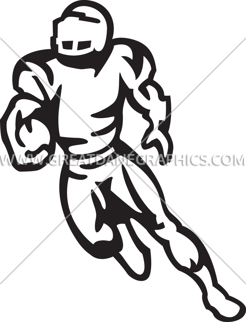 Football Player Running   Production Ready Artwork for T-Shirt Printing clip art black and white download