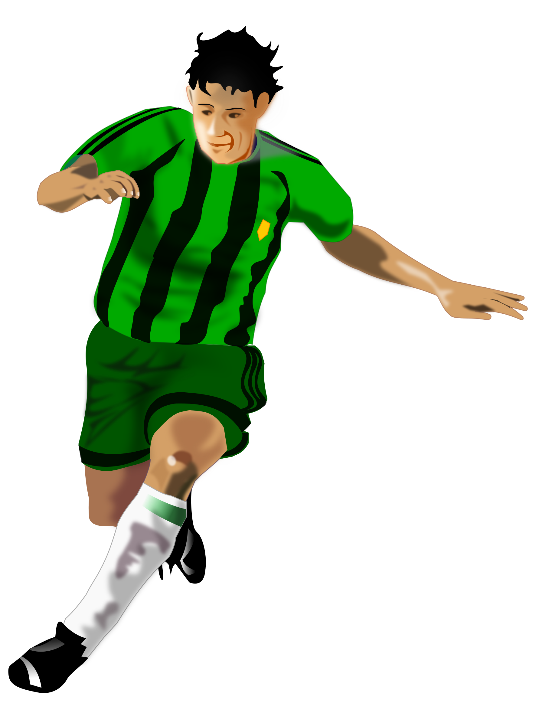 Running football player clipart clip art library stock Clipart - Soccer Player (Green/Black) clip art library stock