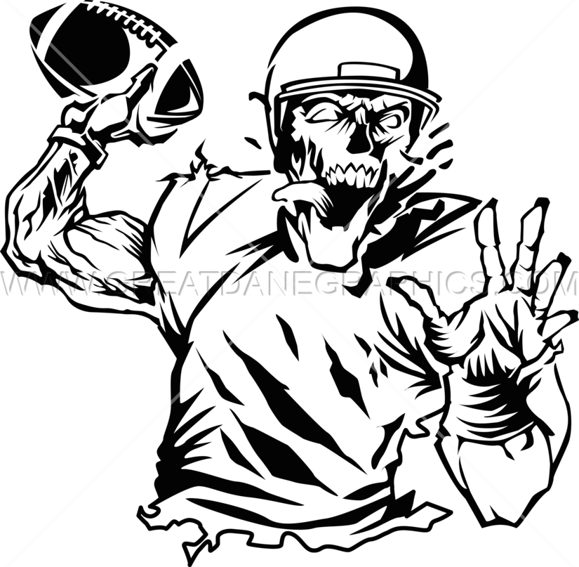 Football quarterback clipart free Zombie Quarterback | Production Ready Artwork for T-Shirt Printing free