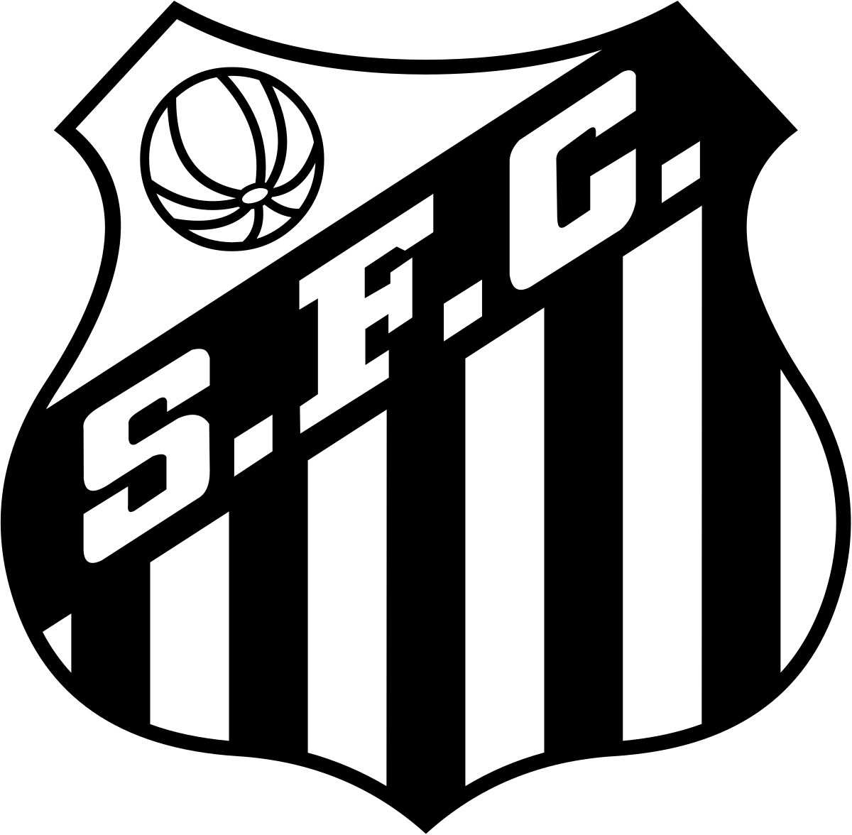 Football team black and white clipart png library Santos FC - Wikipedia png library