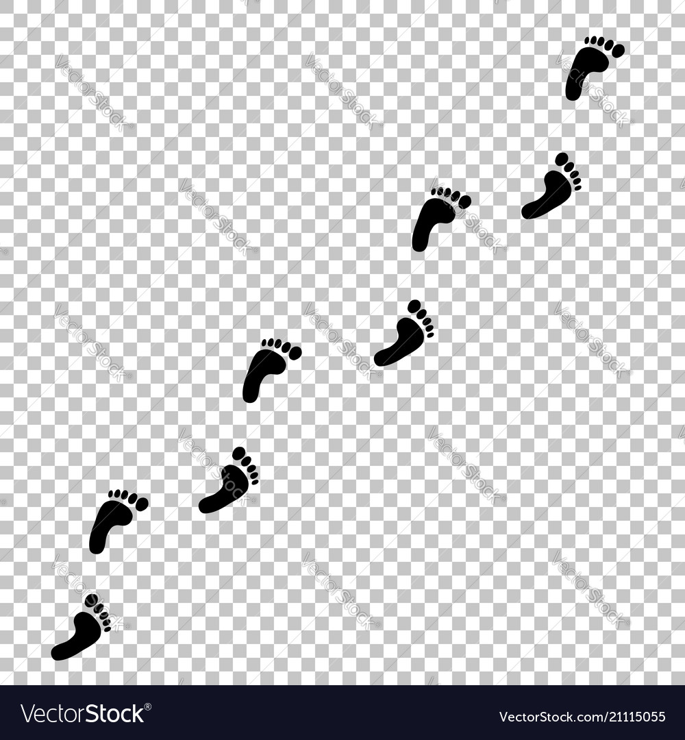 Human footprint path on. Footprints in the sand clipart black and white