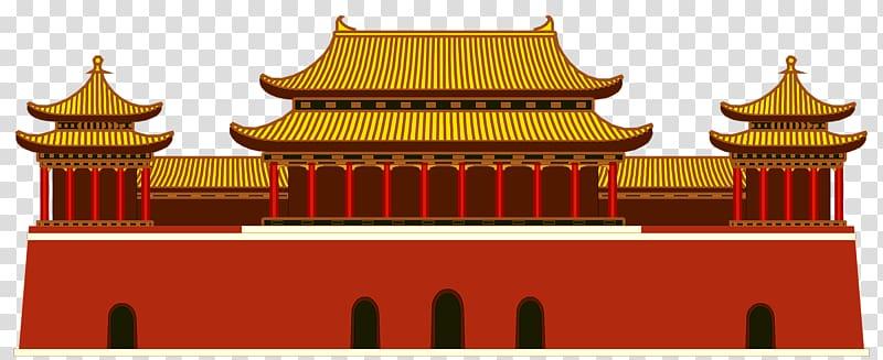 Tiananmen square cartoon house. Forbidden city clipart