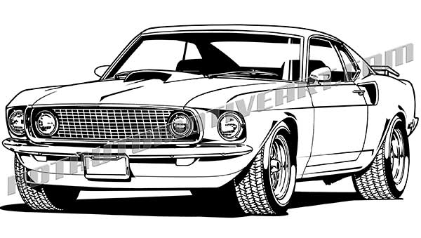 Ford mustang clipart black and white jpg black and white 1969 Muscle Car Front 3/4 View, Vector Art jpg black and white