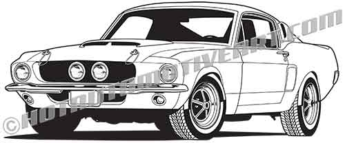Ford mustang shelby clipart jpg black and white 1967 Muscle Car #10 - VECTOR jpg black and white