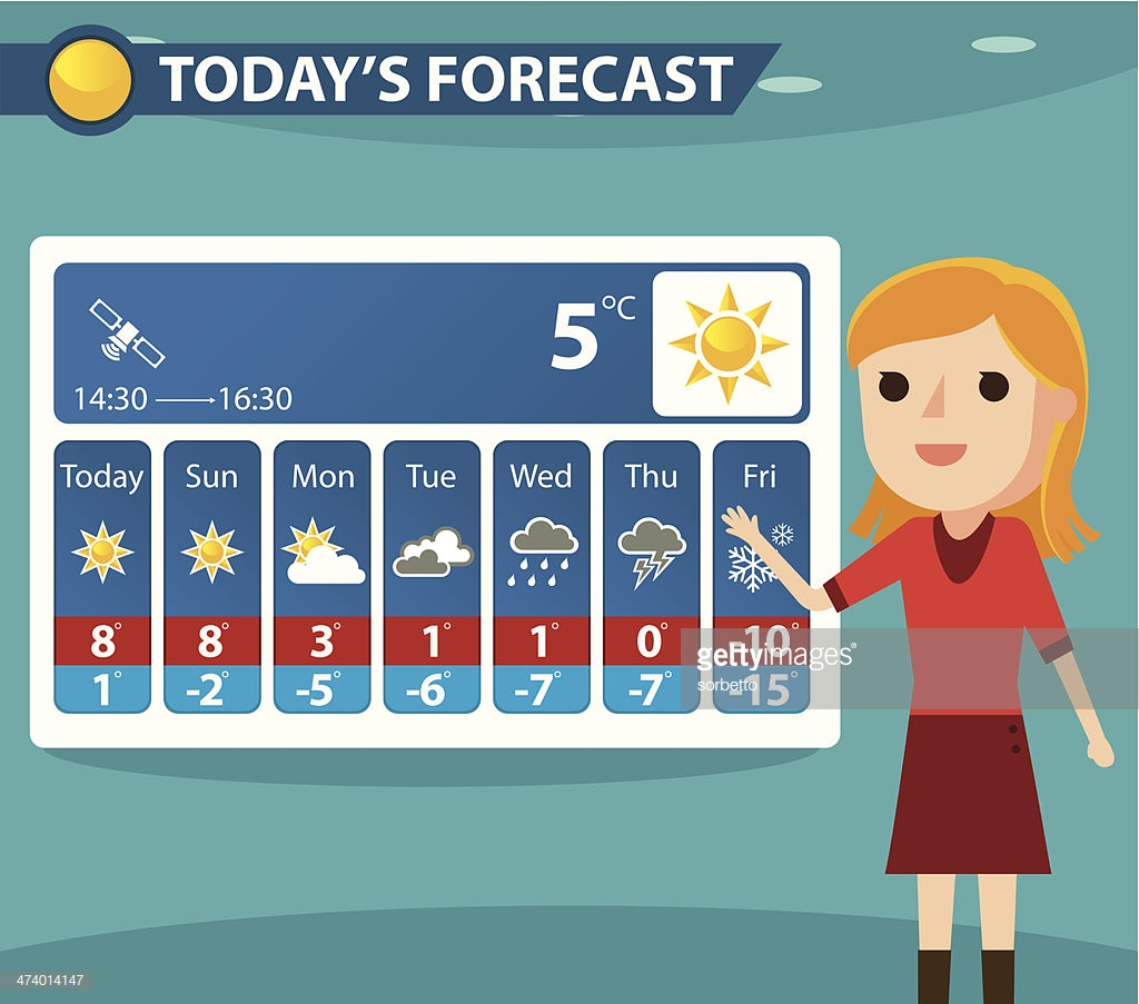 Reporter presenting weather zip. Forecast clipart