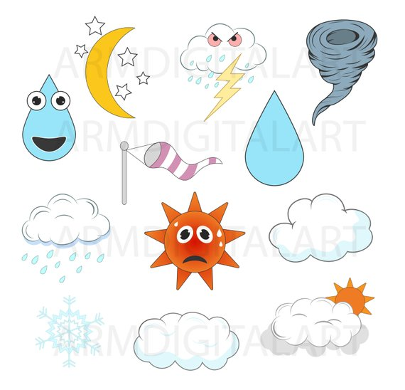 Forecast clipart. Weather graphics commercial use