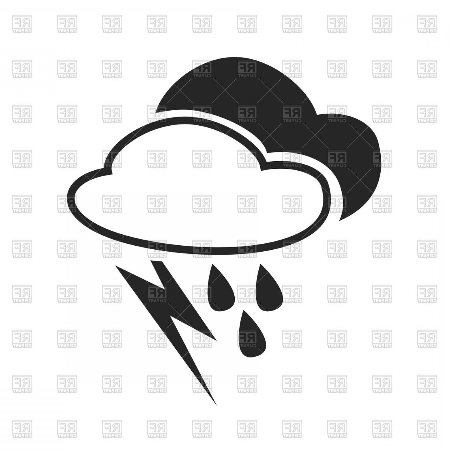 Forecast icon clipart clipart Heavy Rain Thunderstorm Weather Forecast Icon Vector Clipart ... clipart