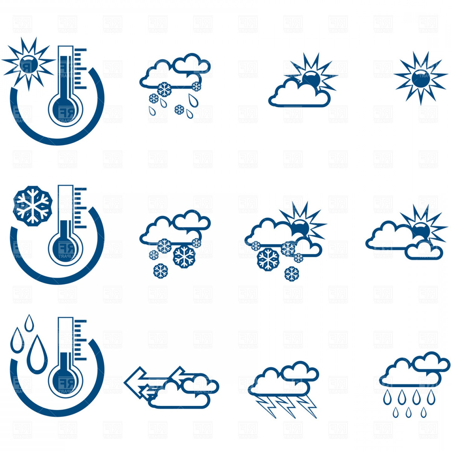 Forecast icon clipart black and white download Simple Weather Forecast Icons Vector Clipart | SOIDERGI black and white download