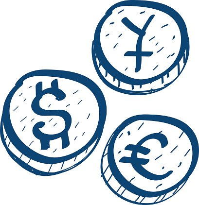 Foreign currency clipart black and white Coins With Symbols of Foreign Currency premium clipart - ClipartLogo.com black and white