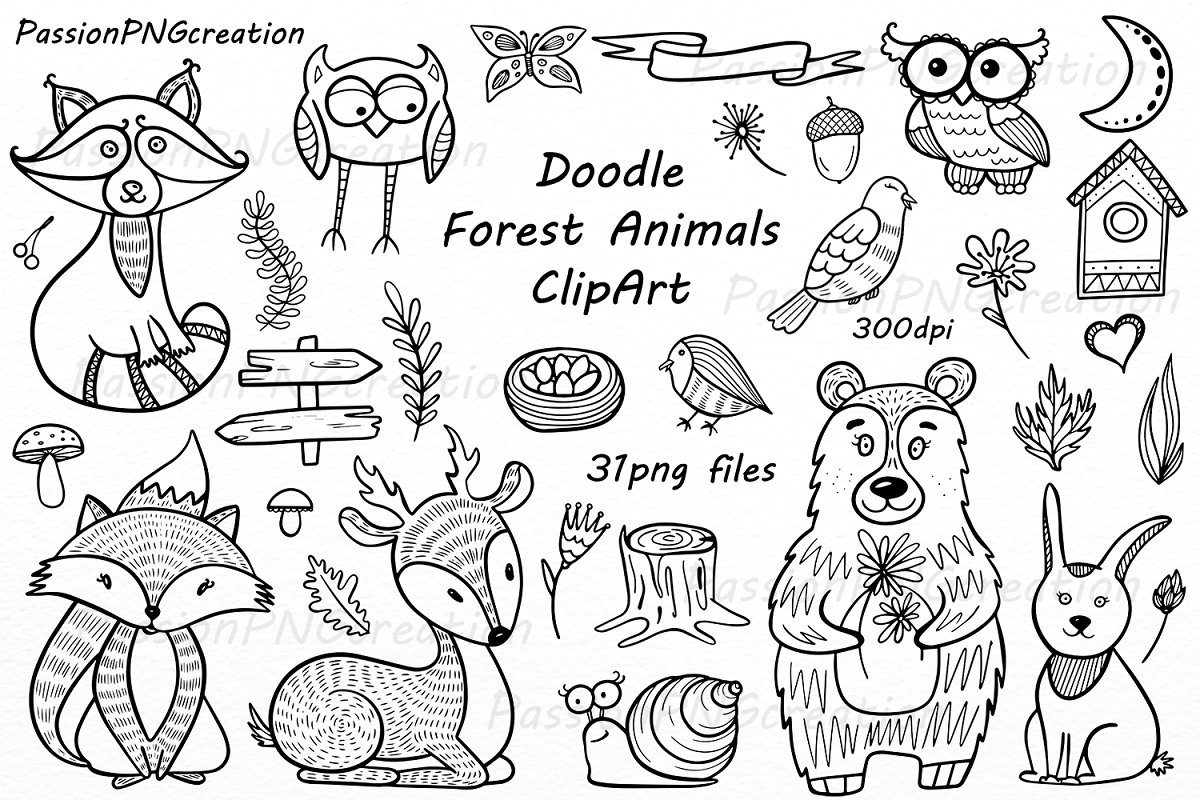 Forest animals black and white clipart freeuse stock Doodle Forest Animals ClipArt freeuse stock