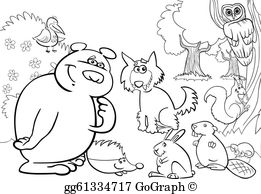 Forest animals black and white clipart banner free download Black Beaver Clip Art - Royalty Free - GoGraph banner free download