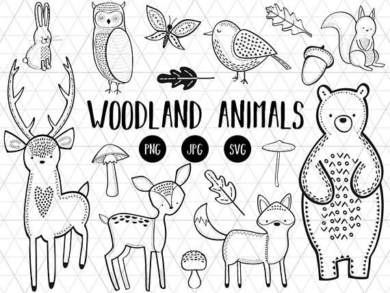 Forest animals black and white clipart svg free Woodland Animals Clipart, Woodland Animals Download, Silhouette SVG ... svg free