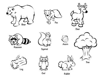 Forest animals black and white clipart picture download Clip Art Package: Forest Animals picture download