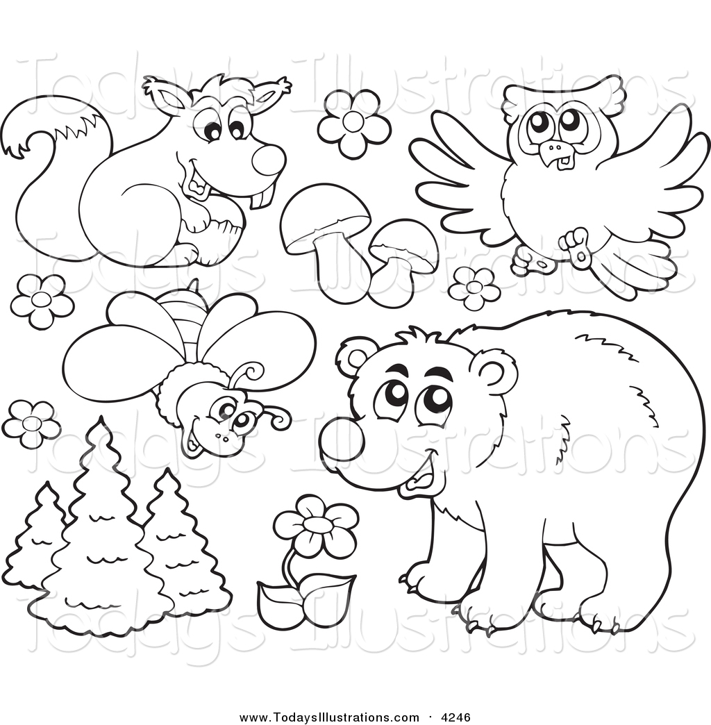 Forest animals black and white clipart picture library stock Clipart of Forest Animals and Plants by visekart - #4246 picture library stock