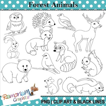 Forest animals black and white clipart vector transparent Forest Animals Clip art vector transparent