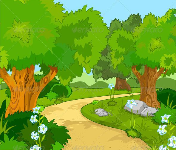 Forest cartoon clipart. Landscape graphicriver a green