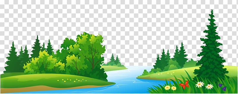 Forest clipart transparent graphic free Forest , Grass Lake and Trees , river and trees cartoon illustration ... graphic free