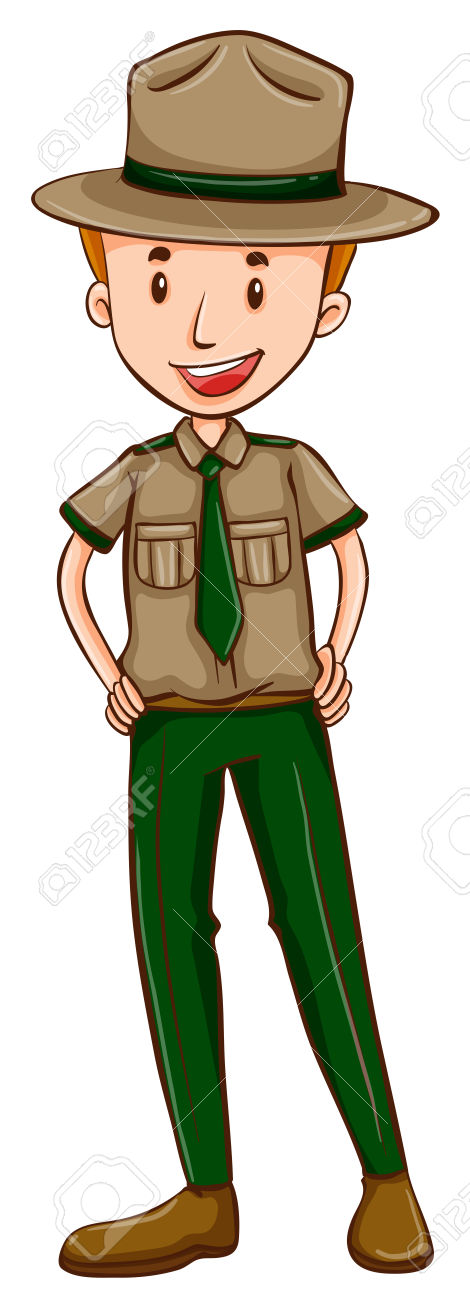 Forest ranger clipart. Illustration cartoon boy hat