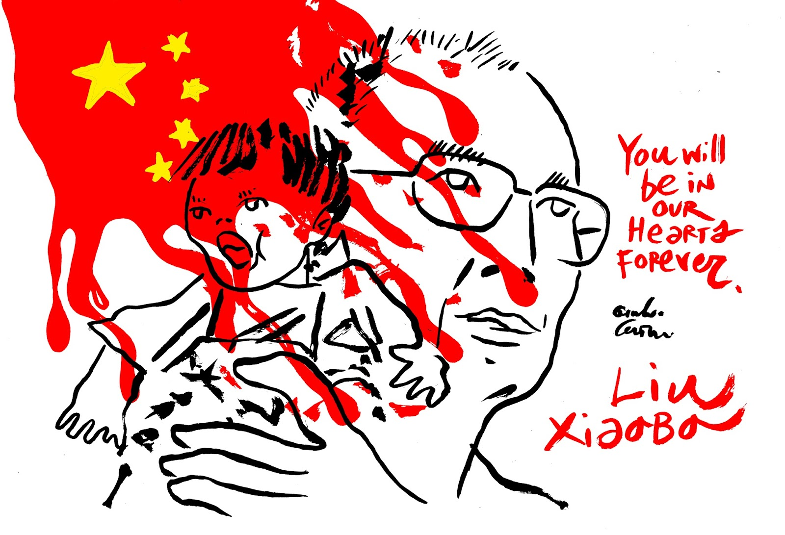 Forever in our hearts clipart vector royalty free library Channeldraw: Liu Xiaobo - You be in our hearts forever! vector royalty free library