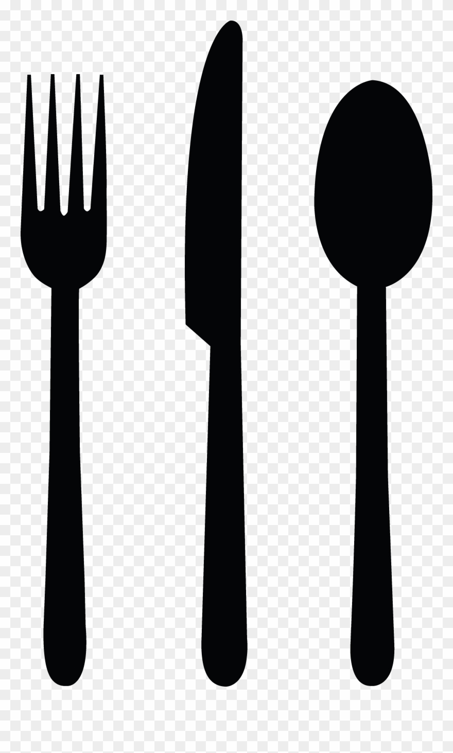 Fork knife spoon clipart black and white