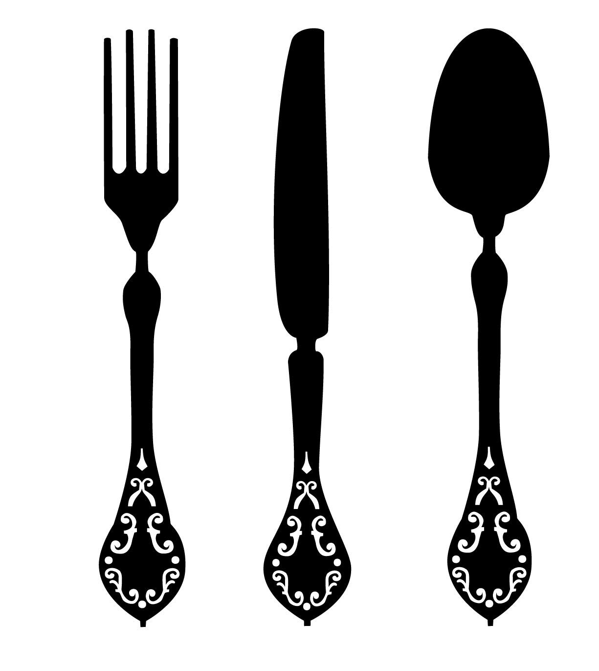 Fork knife spoon clipart black and white clipart black and white stock Fork, Knife and Spoon Elegant Vinyl Designs - Kitchen or Dining Room Wall  Decals for Home or Restaurant Decor, 36-inch Tall, Black clipart black and white stock