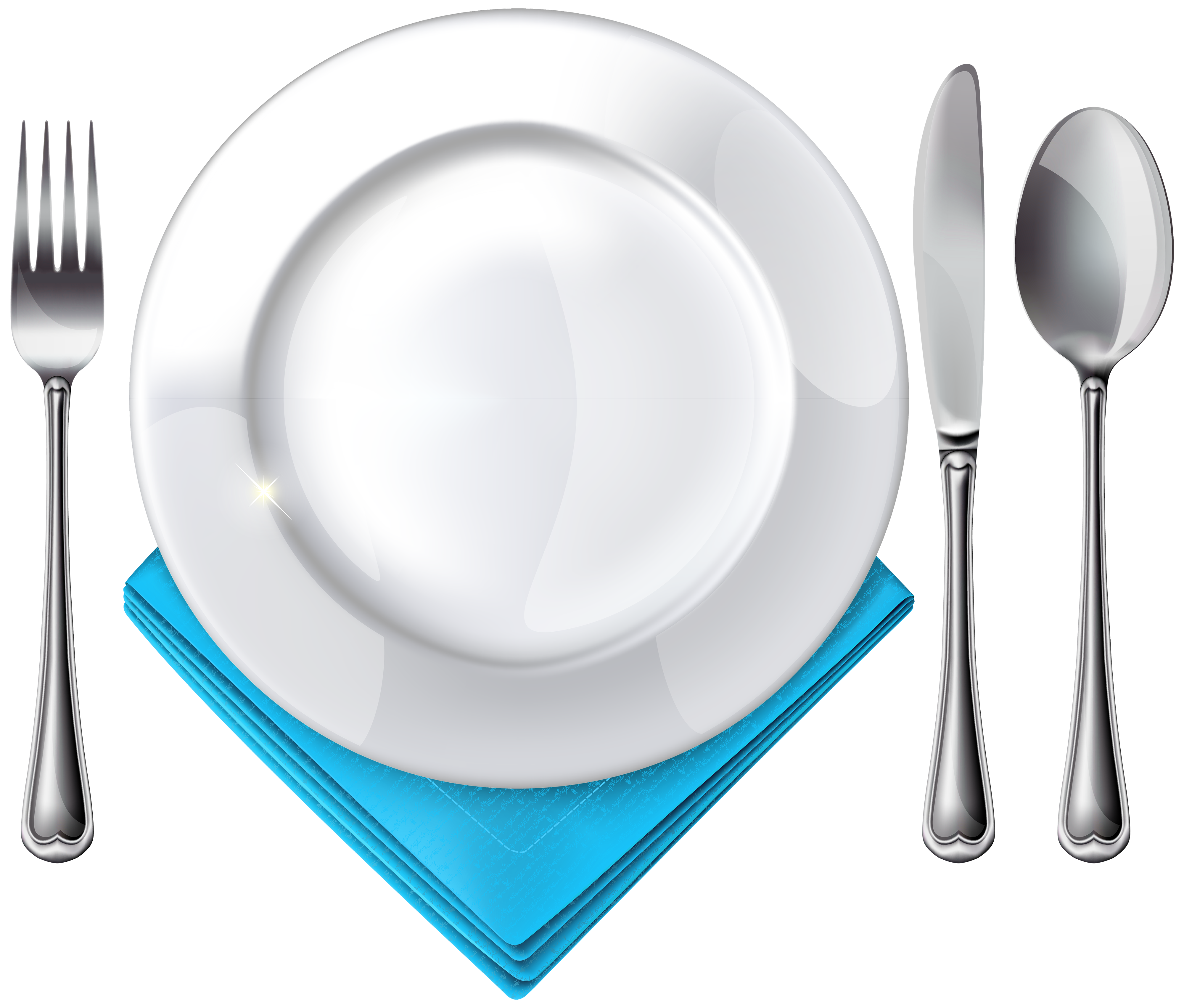 Fork spoon house clipart jpg transparent library Plate Spoon Knife Fork and Blue Napkin PNG Clipart - Best WEB Clipart jpg transparent library