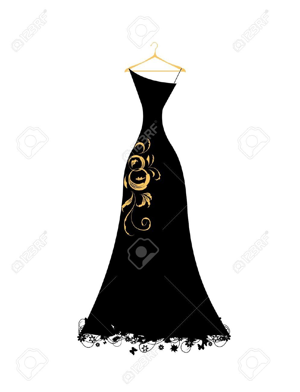 Prom dress images in black and white clipart clip art freeuse stock Stock Vector | Silhouettes | Black evening dresses, Evening dresses ... clip art freeuse stock