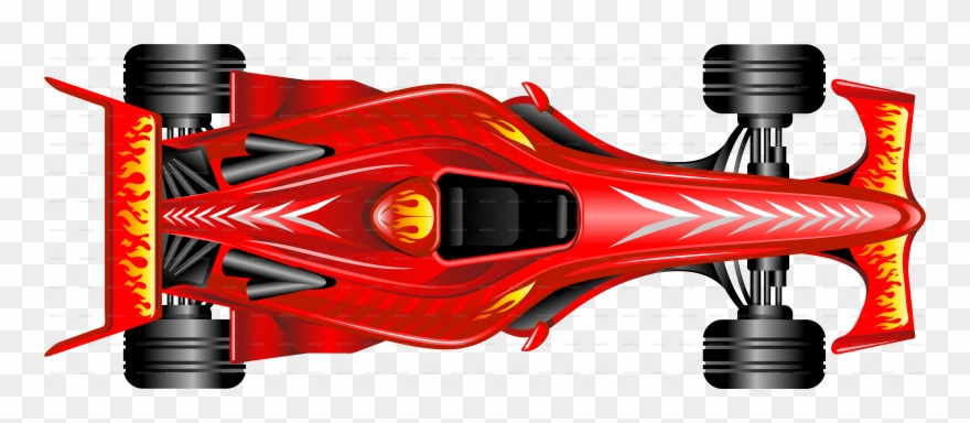 Formula 1 cars clipart. Transparent car top view