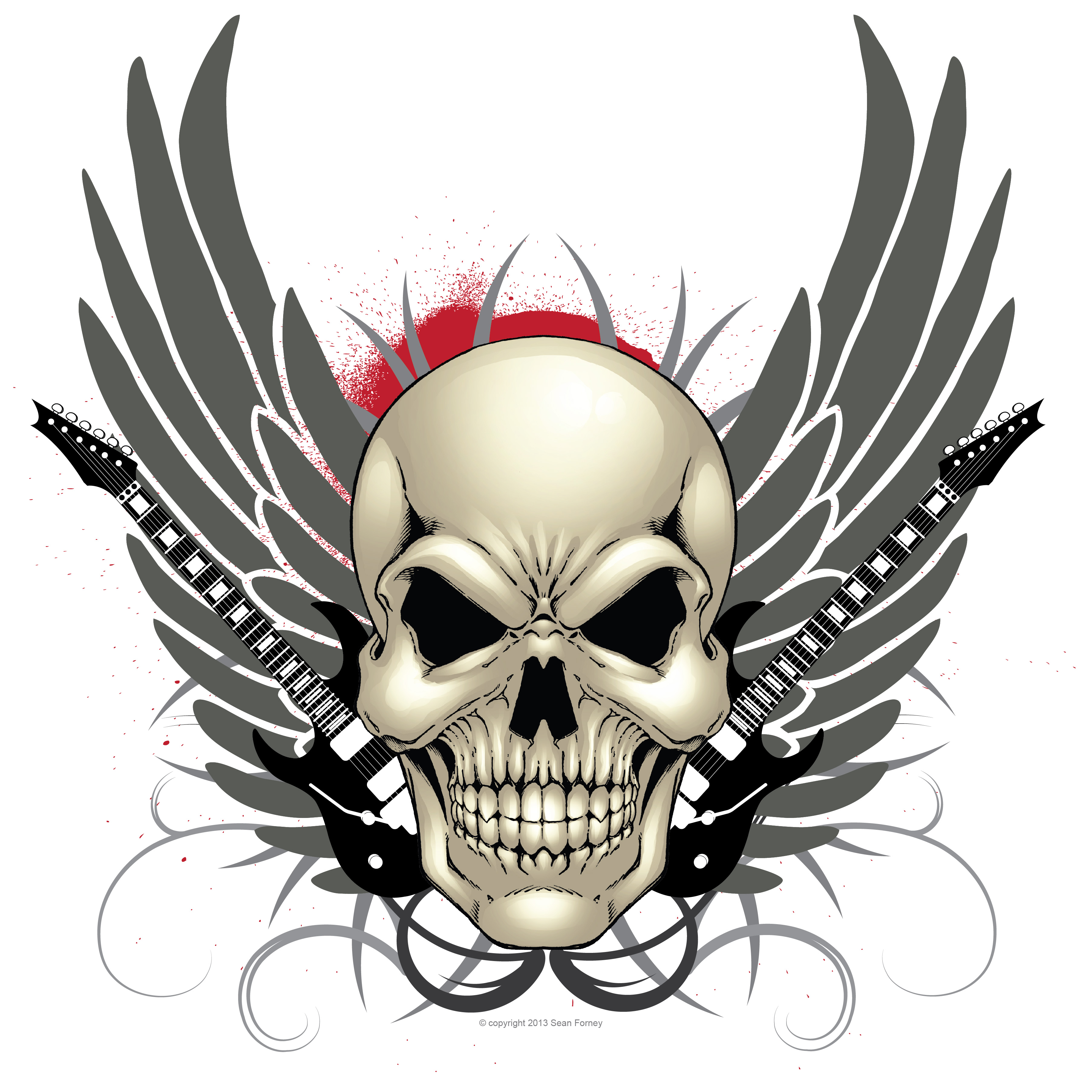 Forney clipart clipart freeuse stock Skull, guitar, and wings design print ? Sean Forney ? Online Store ... clipart freeuse stock