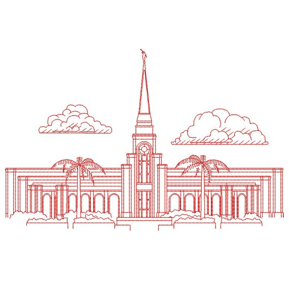Fort lauderdale clipart jpg library stock Fort Lauderdale Florida LDS Temple, Redwork Embroidery Design ... jpg library stock