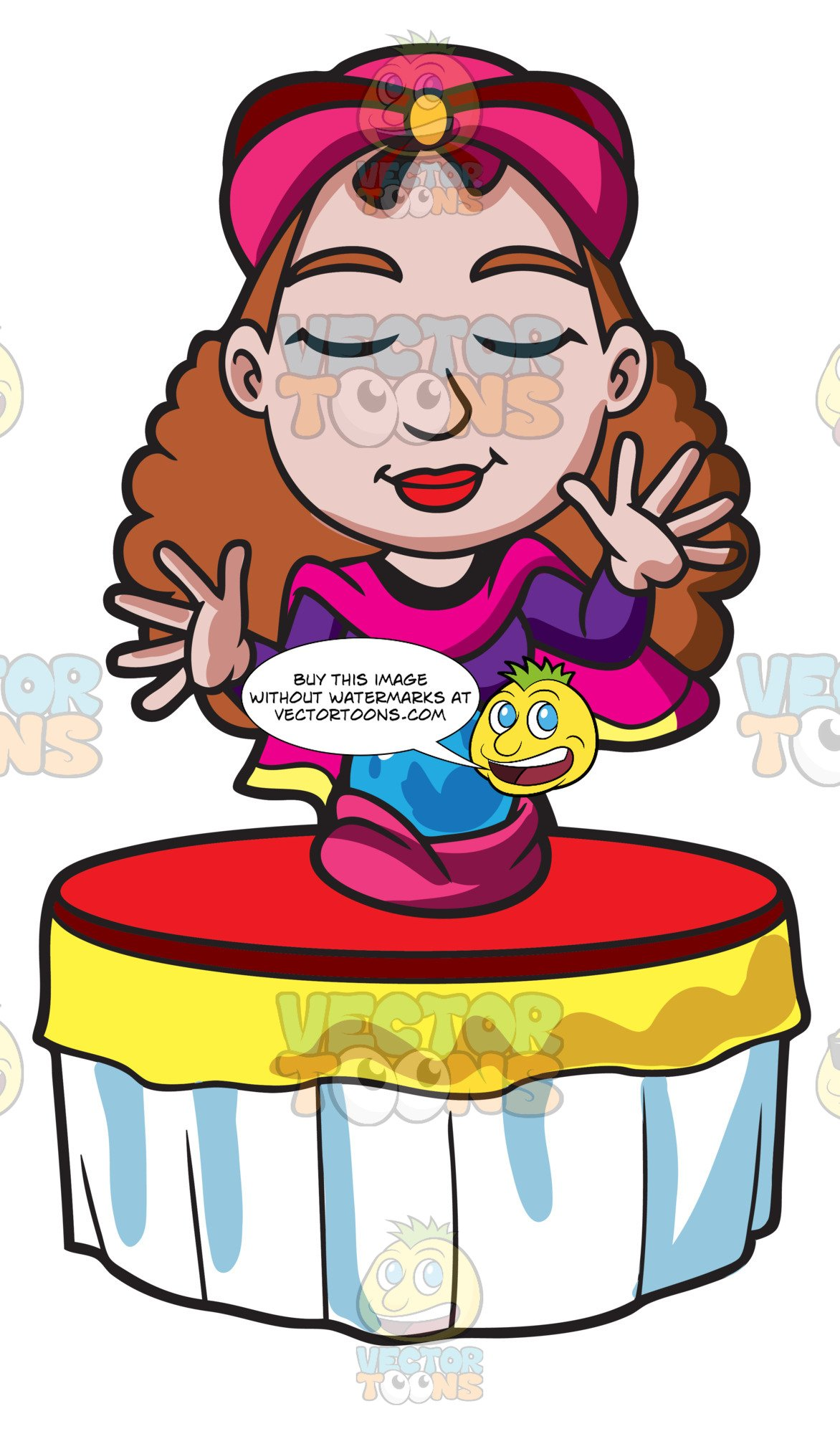 Fortune telling clipart. A teller concentrates on
