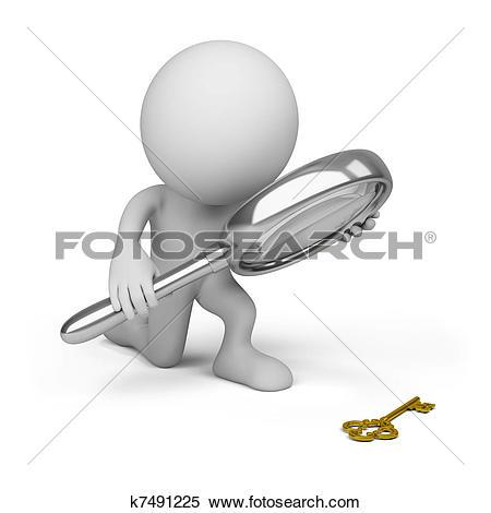 Foto search clip art clip Stock Illustration of 3d small people-loupe k2969035 - Search ... clip