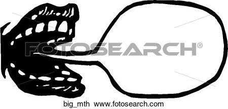 Foto search clip art clipart black and white Clipart of Big Mouth big_mth - Search Clip Art, Illustration ... clipart black and white