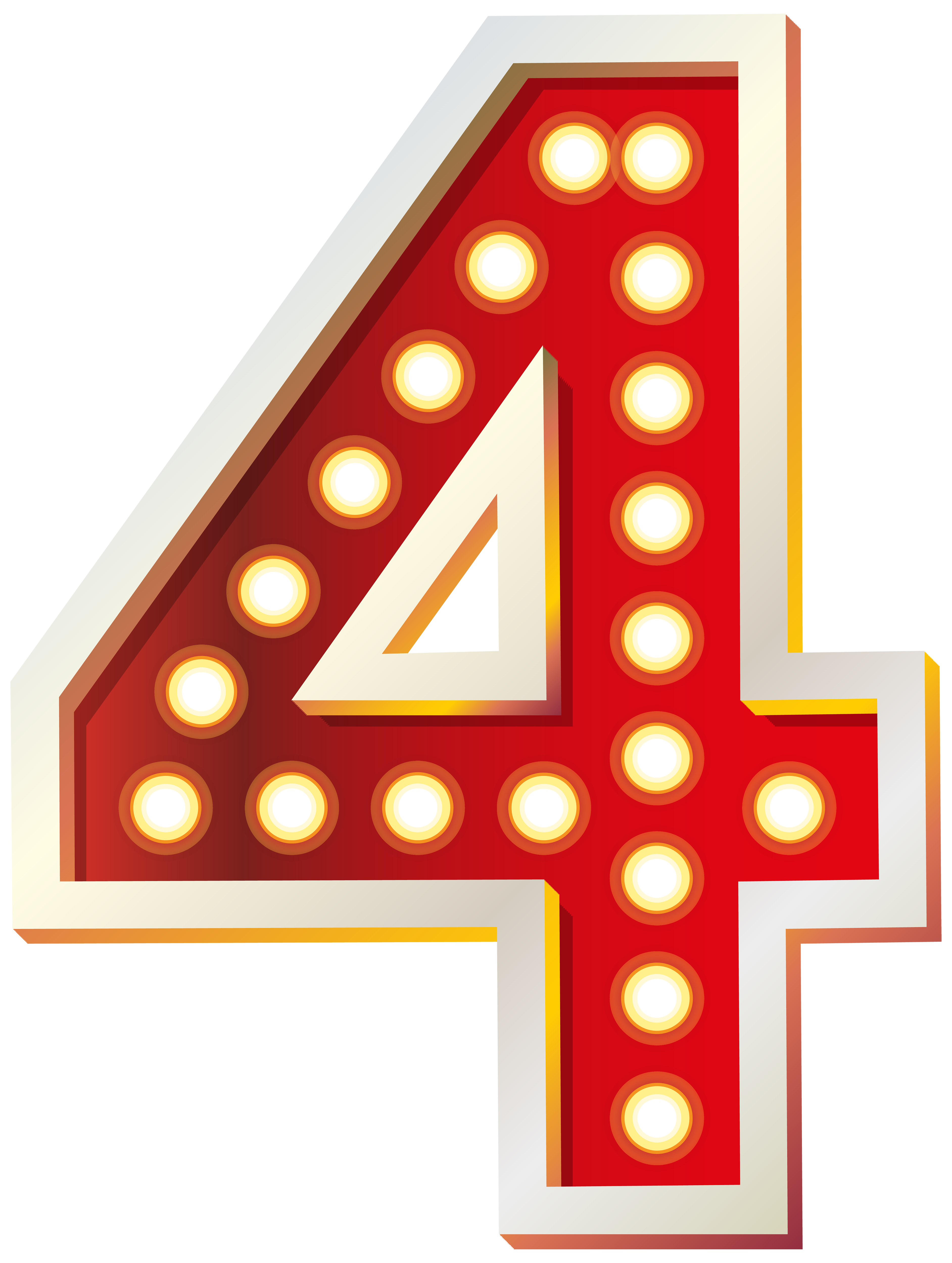 Red number with lights. Four clipart